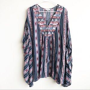 Umgee | Aztec Print Kimono Style Tunic Dress